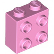 22885-104 Steen 2x2 met noppen aan één zijde roze, helder NIEUW loc L2-13