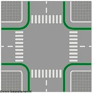 2361p01-9 Wegenplaat 32x32 kruispunt MET FIETPAD lichtgrijs (klassiek) NIEUW *3K000