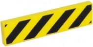 2431p52-3G Tegel 1x4 Diagonale strepen zwart geel gebruikt *0K000