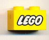 3004pb007-3G Steen 1x2 opdruk LEGO GESLOTEN O geel gebruikt *0K000