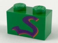 3004px5-6 Steen 1x2 paarse slang groen NIEUW *0K000