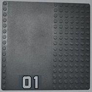 30225pb07-85G Basisplaat 16x16 met weg 01 sticker GROTE CIJFERS grijs, donker (blauwachtig) gebruikt *4T000