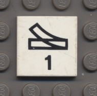 3068pb40-1G Tegel 2x2 Wisselsymbool rechts Wit gebruikt loc