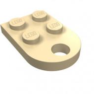 3176-2 Platte plaat 2x2 met gat voor trekhaak (oog) crème NIEUW *1L324