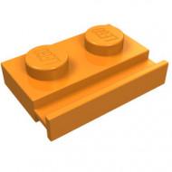 32028-4G Platte plaat 1x2 met deurrail oranje gebruikt *1L290/5