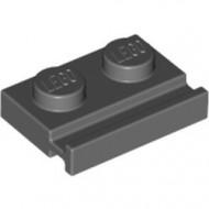 32028-85B BULK:50x Platte plaat 1x2 met deurrail grijs, donker (blauwachtig) NIEUW *1L290/5
