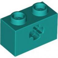 32064-39G Technic, steen 1x2 met asgat (loc 10-21) turquoise, donker gebruikt *1L000