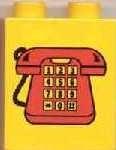 4066pb100-3G DUPLO steen 1x2x2 Telefoon blauw, midden gebruikt *