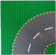 44342pb01-6 Wegenplaat 32x32 bocht Groen NIEUW loc