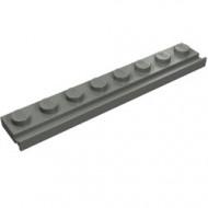 4510-85 Platte plaat 1x8 met deurrail/dakgoot grijs, donker (blauwachtig) NIEUW *1L291/6
