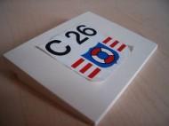 4515pb002-1G Dakpan 10 graden 6x8 C26 reddingsbrigade (sticker) Wit gebruikt loc