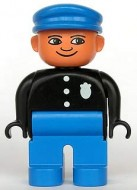 4555pb061 Duplo Figure, Male Police, Blue Legs, Black Top with 3 Buttons and Badge, Blue Hat loc