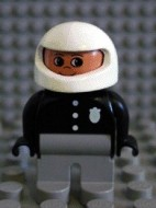 4555pb064 Duplo Figure, Male Police, Light Gray Legs, Black Top with 3 Buttons and Badge, White Racing Helmet loc