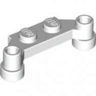 4590-1 Platte plaat 1x4 offset (plaat 2 x1+gaten links en rechts) wit NIEUW *1L240