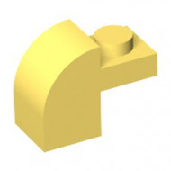6091-3 Steen 2x1 met afgeronde kop en nop geel NIEUW *1L0000