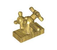 6936-115 Kraan 1x2 met twee kranen goud, parel NIEUW *0B0000