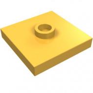 87580-110 Platte plaat 2x2 1 centrale nop oranje, lichthelder NIEUW *1L235