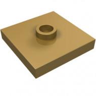 87580-115 Platte plaat 2x2 1 centrale nop goud, parel NIEUW *1L235