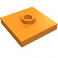 87580-4 Platte plaat 2x2 1 centrale nop oranje NIEUW *1L0000