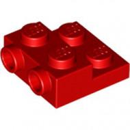 99206-5 Platte plaat 2x2x2/3 met 2 noppen zijkant rood NIEUW *1L0325