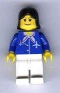 air021G Airport - Stewardes met blauw pak met sjaal gebruikt loc