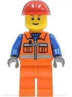 cty0014G Bouwvakker- Rode veiligheidshelm, standaard hoofd met pupillen, oranje pak met blauwe armen, donkerblauwgrijze handen gebruikt loc