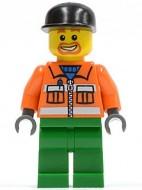 cty0046G Vuilnisman, Zwarte pet met klep, oranje overall, groene broek gebruikt loc