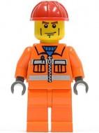 cty0052G Rode helm, strepen op wang, oranje pak en benen gebruikt *0M0000