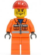 cty0052G Rode helm, strepen op wang, oranje pak en benen gebruikt loc