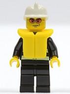 cty0085G BRANDWEER: Witte brandweerhelm, tr. Rode zonnebril, zwart pak met reflectiestrepen, reddingsvest gebruikt *0M0000