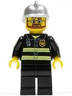 cty0087G Brandweerman- veiligheidsstrepen, bril, baard, zilveren helm gebruikt loc