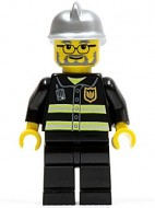 cty0088G Brandweerman- veiligheidsstrepen, bril, baard, zilveren helm gebruikt loc