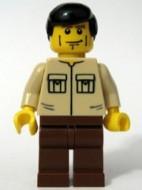 cty0112G Beige shirt met twee zakken, zwart haar, strepen op wang gebruikt loc