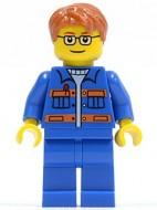 cty0140G Blauwe jas met oranje strepen, donkeroranje haar,bril gebruikt loc