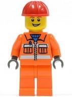 cty0368G Bouwvakker, rode helm, oranje overall gebruikt loc