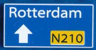 CUS1101 Routebord Rotterdam N210 (2x4) blauw NIEUW *0A000
