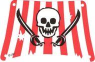 sailbb18-1G Zeil rechthoek, rode strepen, doodshoofd en zwaarden wit gebruikt *5D000