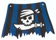 sailbb32-1G Zeil zwarte en blauwe strepen, wit doodshoofd wit gebruikt *5D000