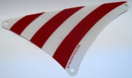 sailbb44-99 Zeil piratenschip driehoek met rode strepen grijs, zeer licht (blauwachtig) NIEUW *5D000