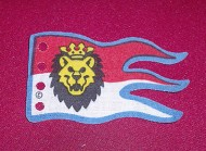 x376px6-1G Vlag 8x5 Blauwe rand rood/wit met leeuwenkop (canvas) wit gebruikt *5K000