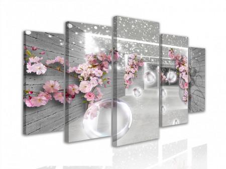 Multicanvas, Flori roz pe un fundal gri tunel