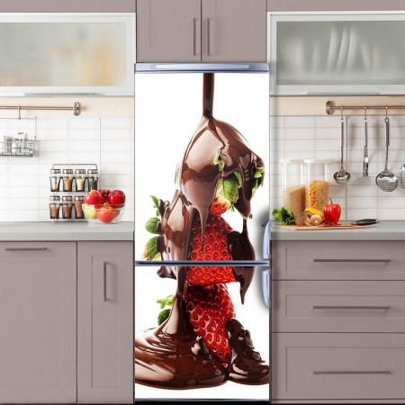 Stickere 3D pentru uși, Căpșuni în ciocolată, 1 foaie de 80 x 200 cm