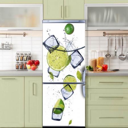 Stickere 3D pentru uși, Lime și cuburi de gheață, 1 foaie de 80 x 200 cm