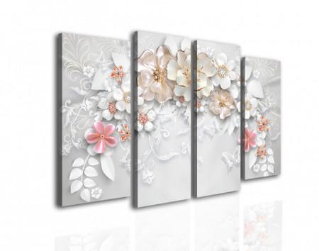 Tablou modular, Flori gingase pe un fundal gri