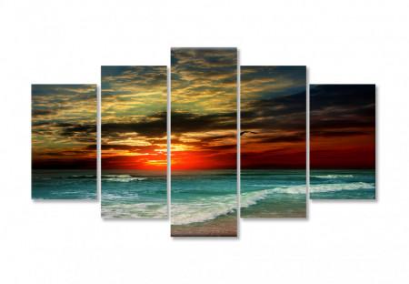 Tablou modular, Apusul de soare frumos peste ocean