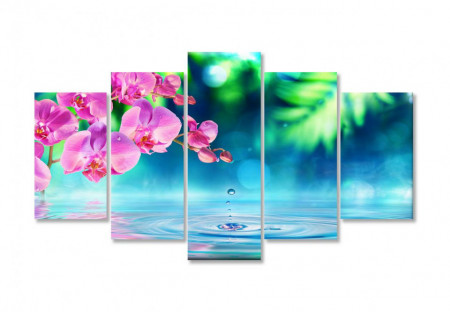 Tablou modular, Orhidee roz în reflexia apei