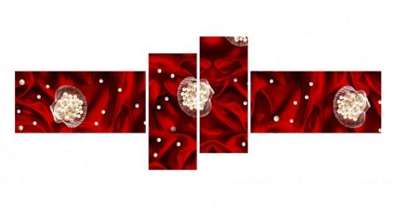 Multicanvas, Flori albe pe fond roșu