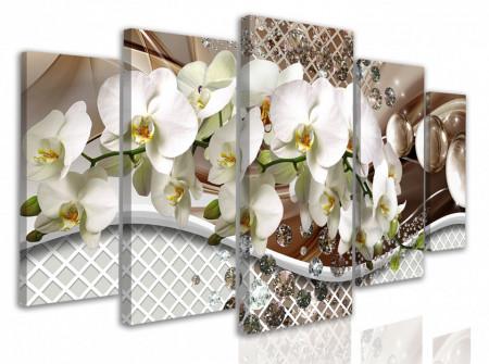 Tablou modular, Ramură de orhidee albe pe fundal ondulat