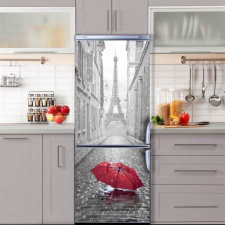 Stickere 3D pentru uși, Turnul Eiffel în culori alb-negru, 1 foaie de 80 x 200 cm