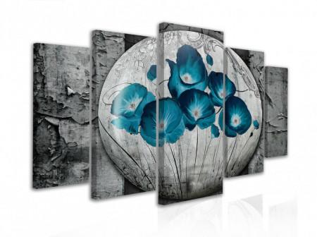 Tablou modular, Buchet de flori albastre pe un fundal gri
